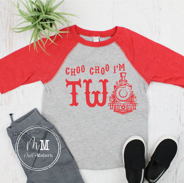 Choo Choo I'm Two Train Toddler Boy's Birthday Shirt - Choo Choo I'm Two Raglan - Warm Weather