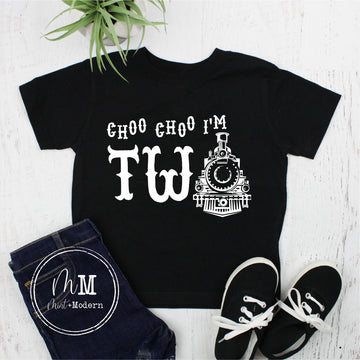 Choo Choo I'm Two Train Toddler Boy's Birthday Shirt