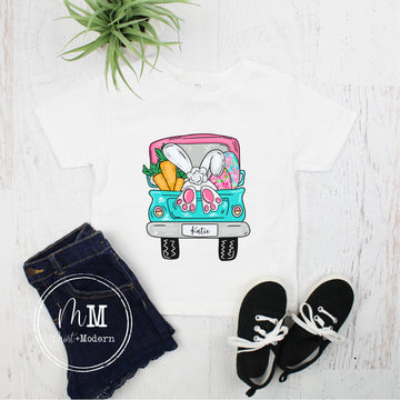 Monogram Easter Bunny Truck Toddler Shirt