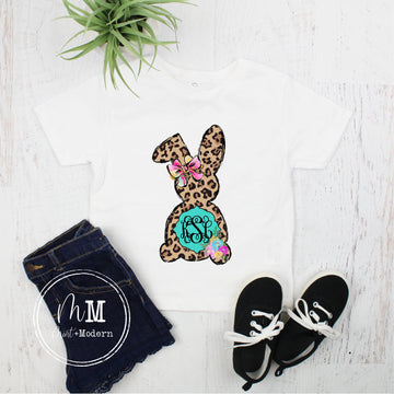 Monogram Leopard Easter Bunny Toddler Shirt