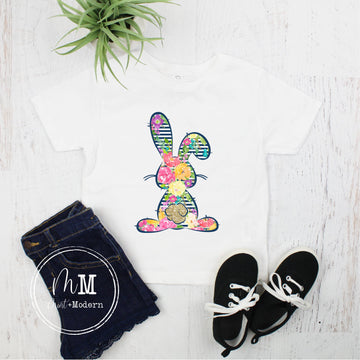 Striped Floral Easter Bunny Toddler Shirt