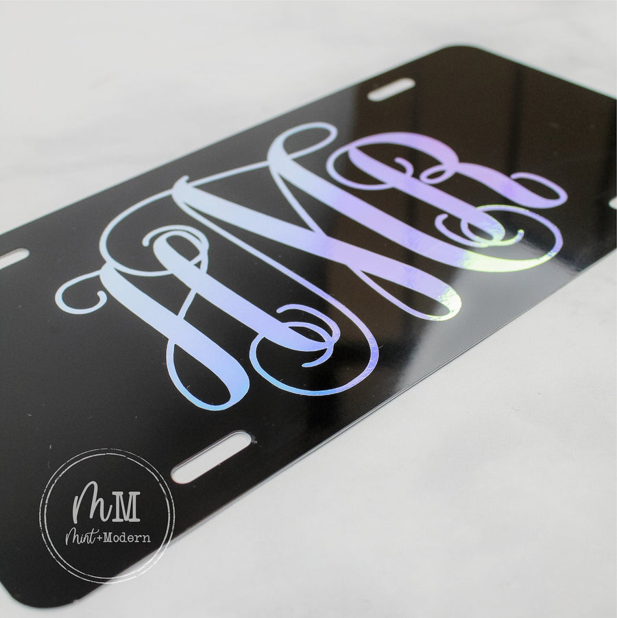 Holographic Monogram Front License Plate