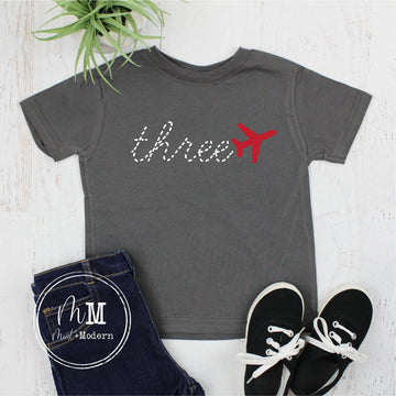 Third Birthday Airplane Shirt - Three Airplane Birthday Shirt