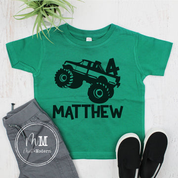 Monster Truck Birthday Shirt - Monogrammed Monster Truck Shirt
