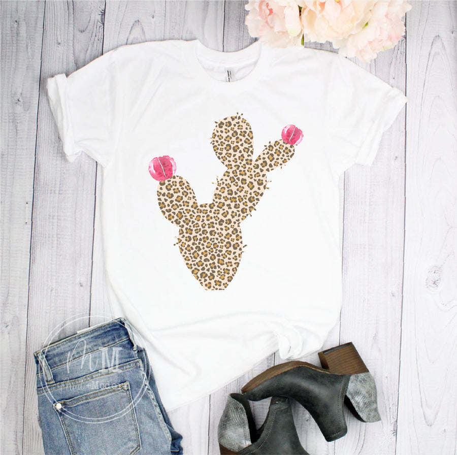 Leopard Cactus Short Sleeve Shirt - Full Color Shirt
