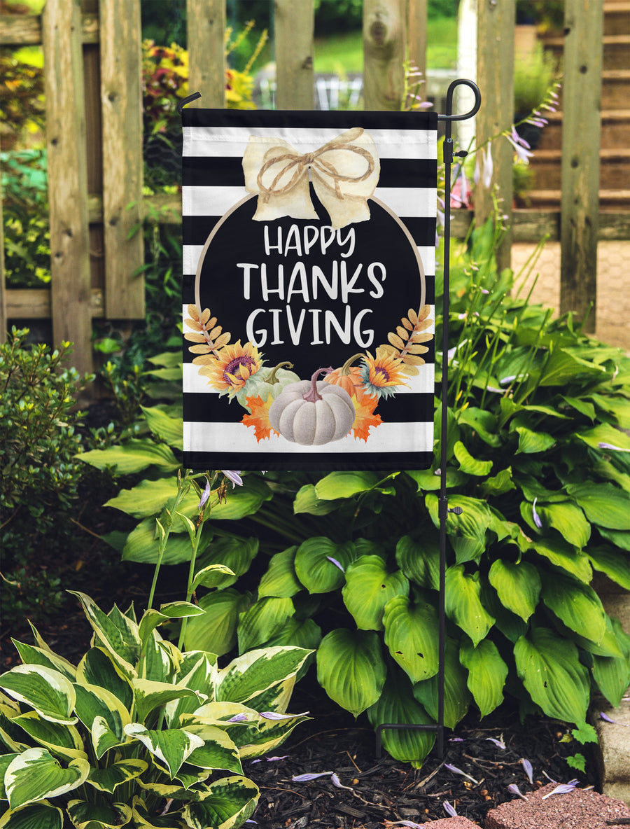 Happy Thanksgiving Striped Garden Flag 11x17 - Flag Only