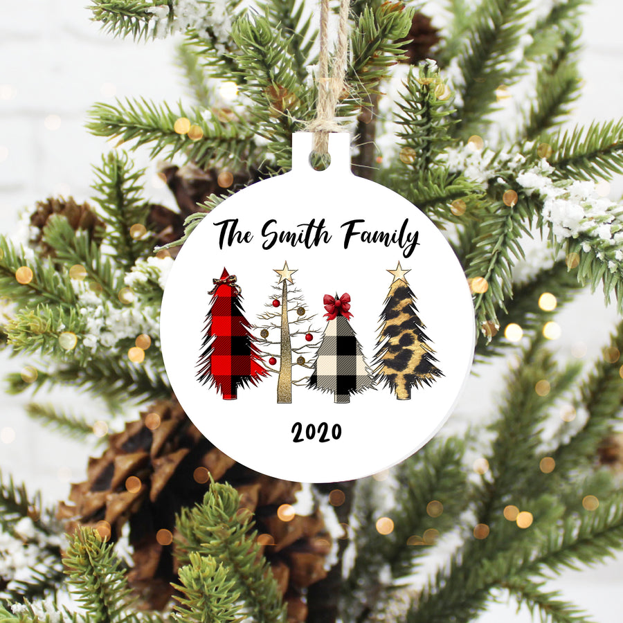 Family Name with Mixed Pattern Trees Aluminum Circle Christmas Ornament