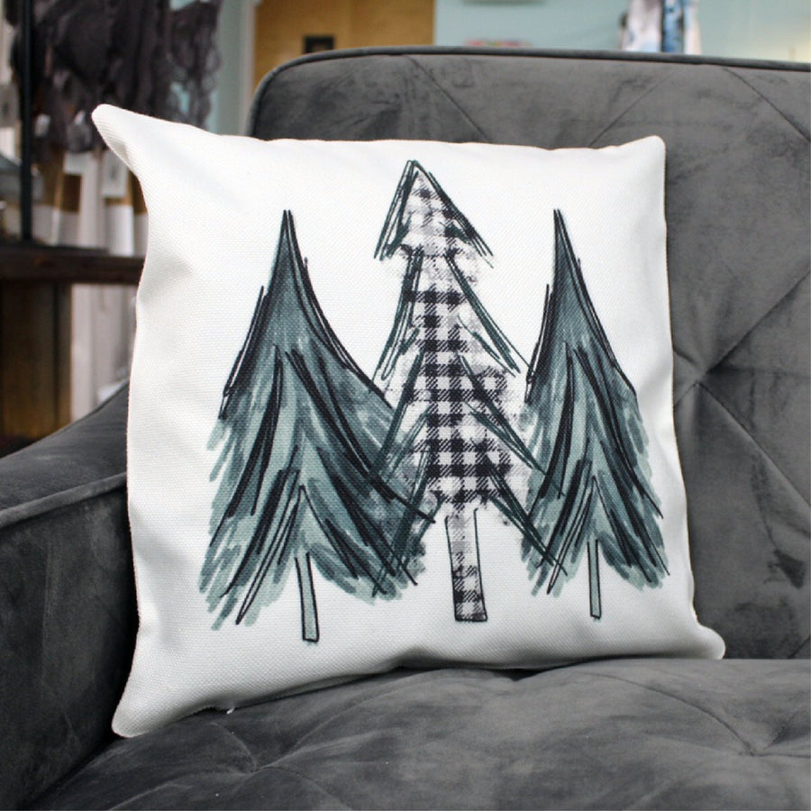 Watercolor Christmas Trees 16x16 Throw Pillow