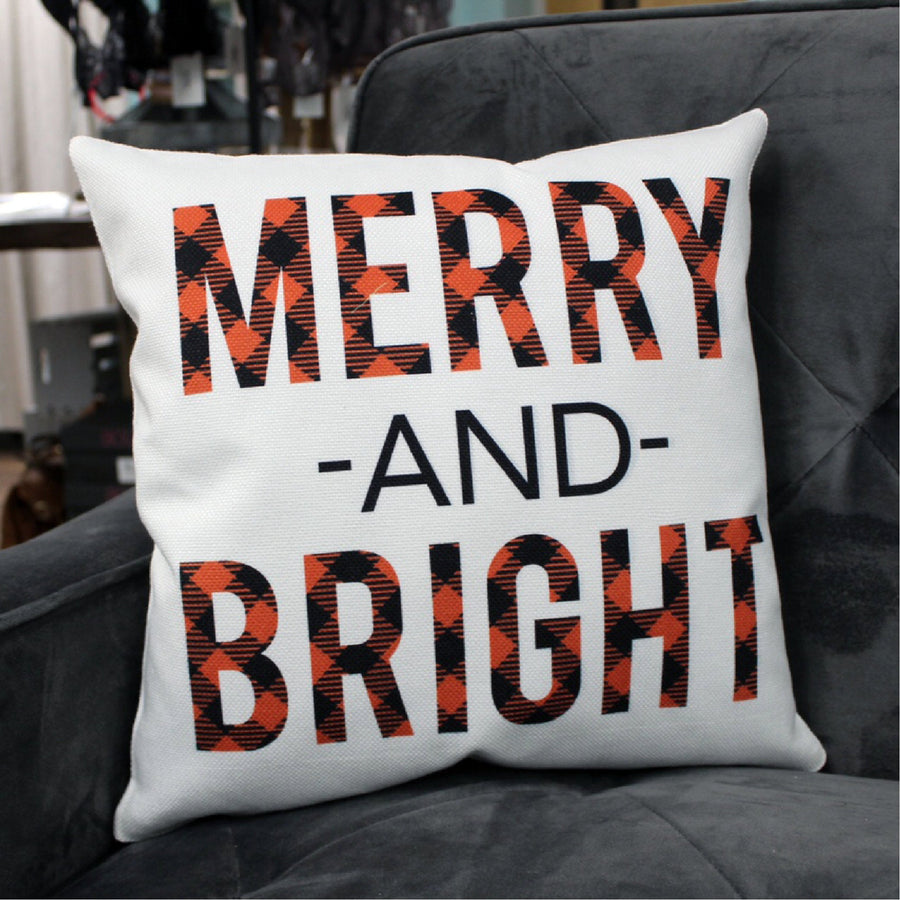 Merry and Bright Christmas 16x16 Throw Pillow
