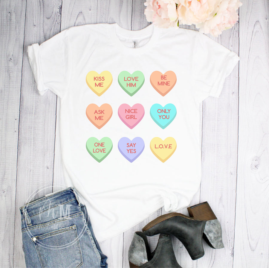 Valentine's Conversation Heart Short Sleeve Shirt - Full Color Shirt