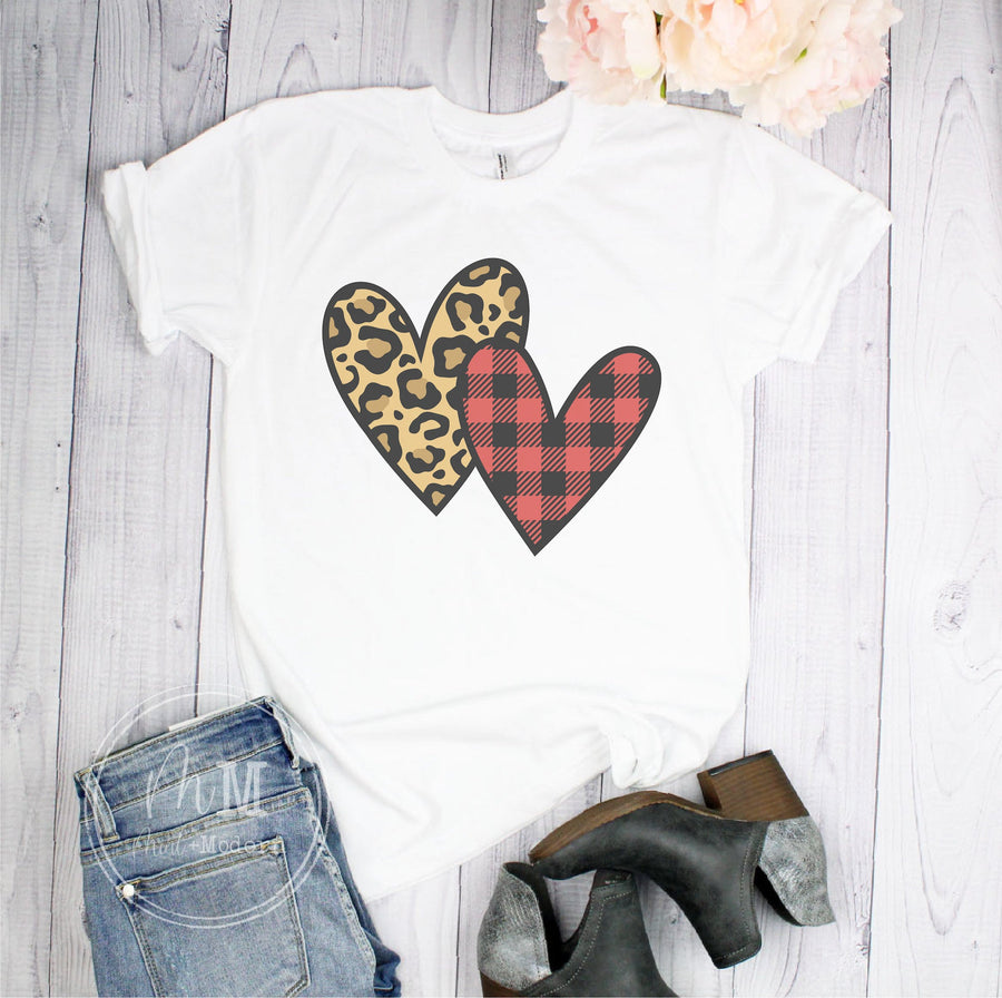 Leopard & Plaid Hearts Short Sleeve Shirt - Full Color Shirt