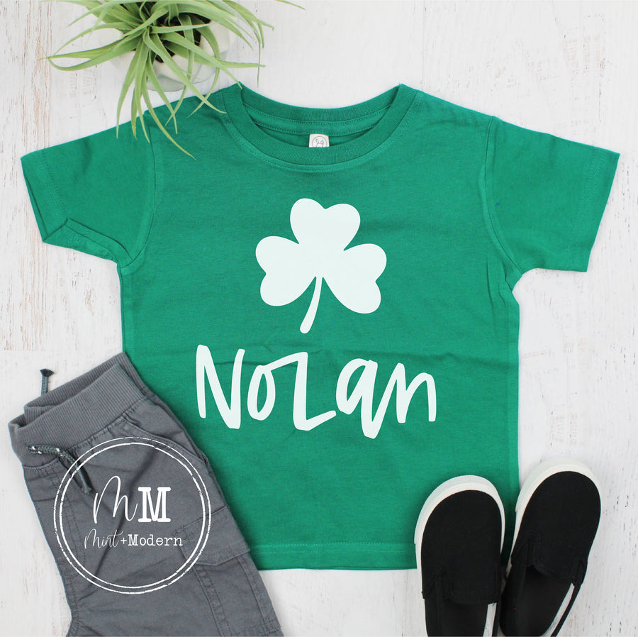Clover Monogram Youth Shirt - St Patrick's Day Toddler Shirt