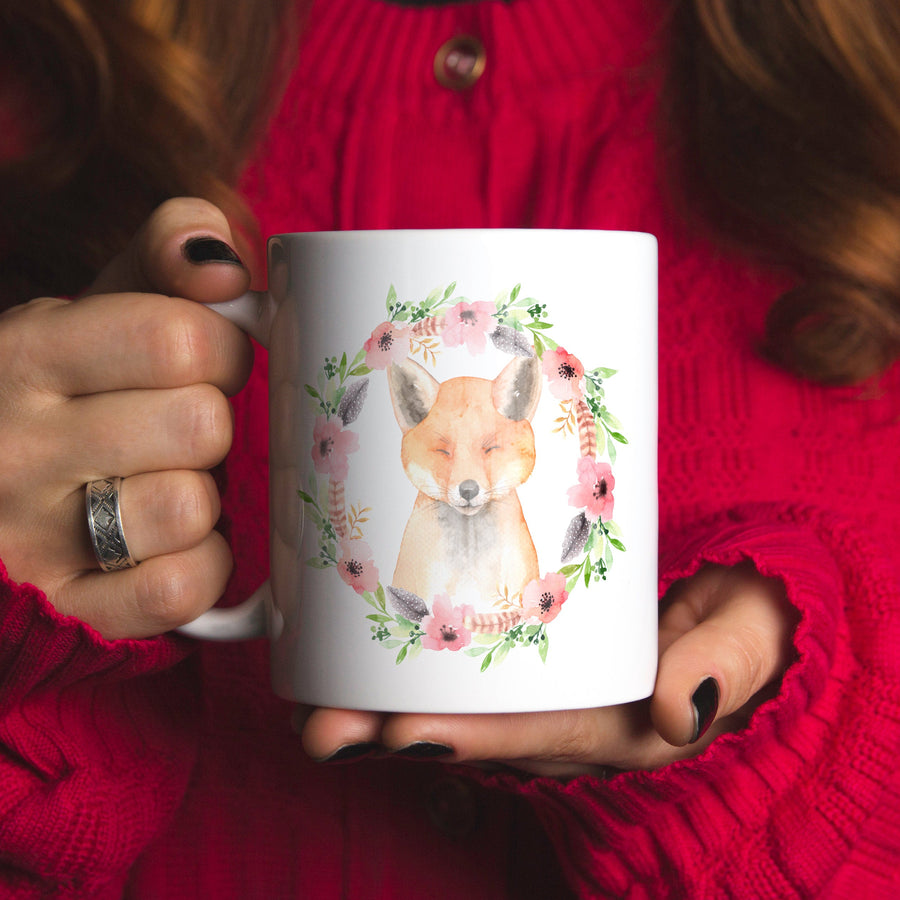 Floral Fox Ceramic Coffee Mug 11oz
