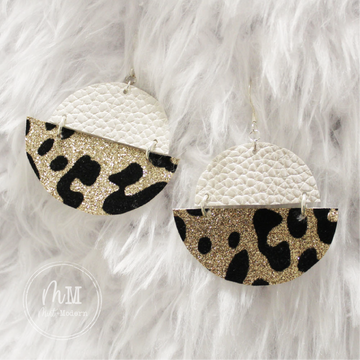Champagne & Leopard Glitter Vegan Leather Handmade Earrings