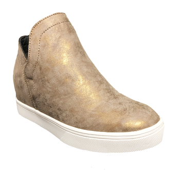 Gold Corkys Footwear Jersey Sneaker Wedge