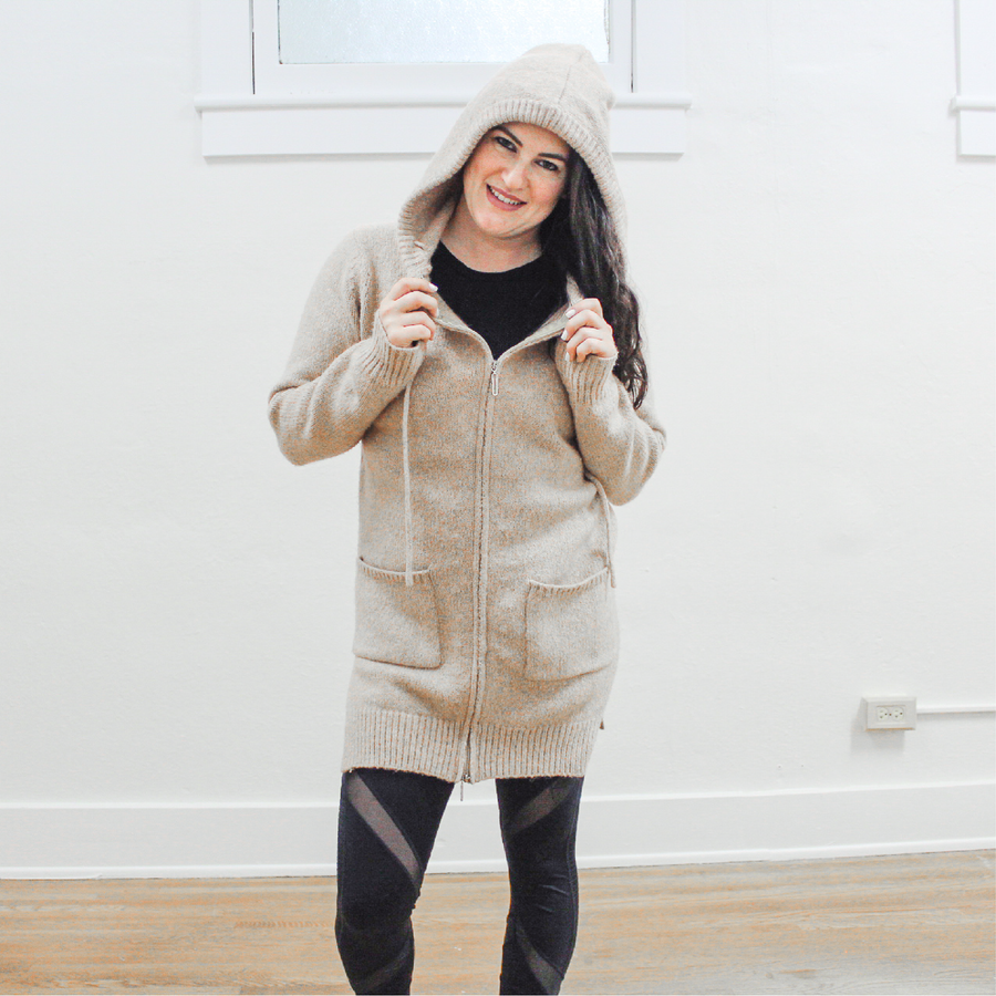 Beige Long Zip Up Jacket with Hood and Hip Cutouts