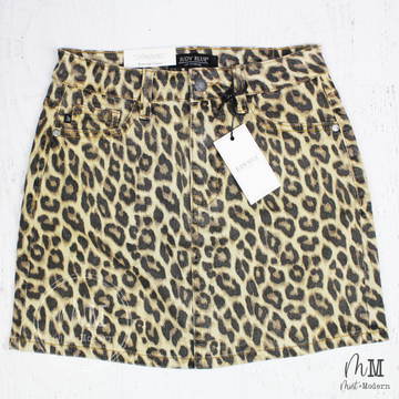 Judy Blue Jeans Leopard Print Denim Skirt