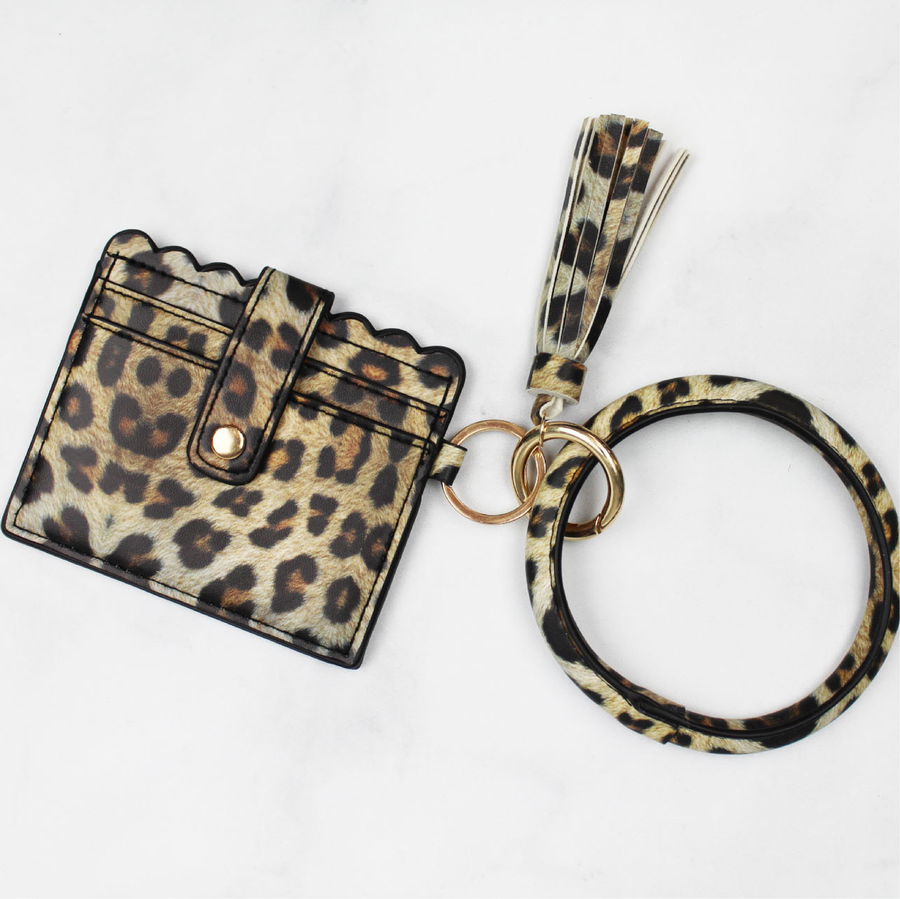 Taupe Leopard Scalloped Key Ring Bangle Wallet with Tassel
