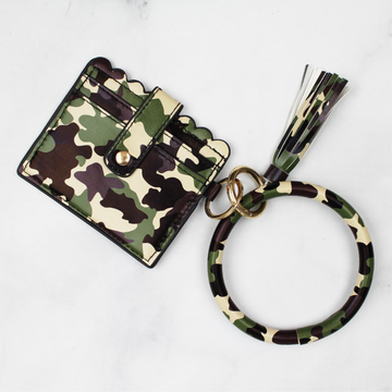 Camo Scalloped Key Ring Bangle Wallet with Tassel