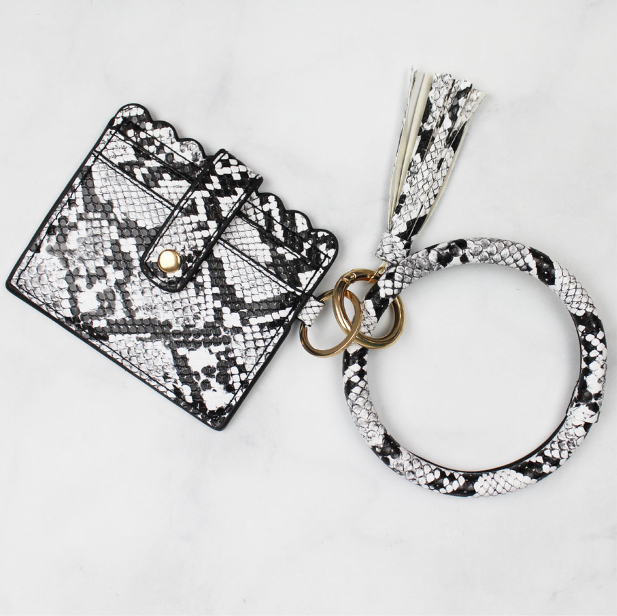 Snake Print Scalloped Key Ring Bangle Wallet with Tassel