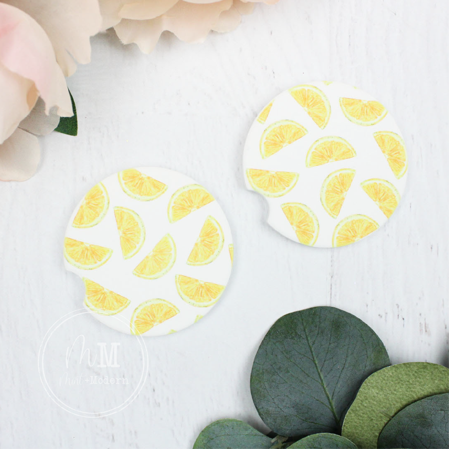 Lemon Sandstone Car Coasters
