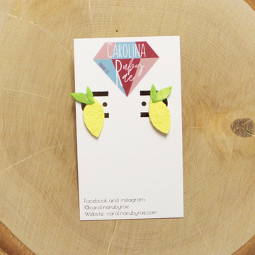 Lemon Studs Handmade Clay Earrings