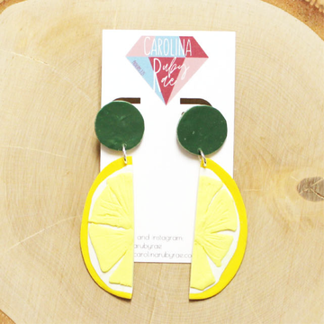 Lemon Slice Dangles Handmade Clay Earrings