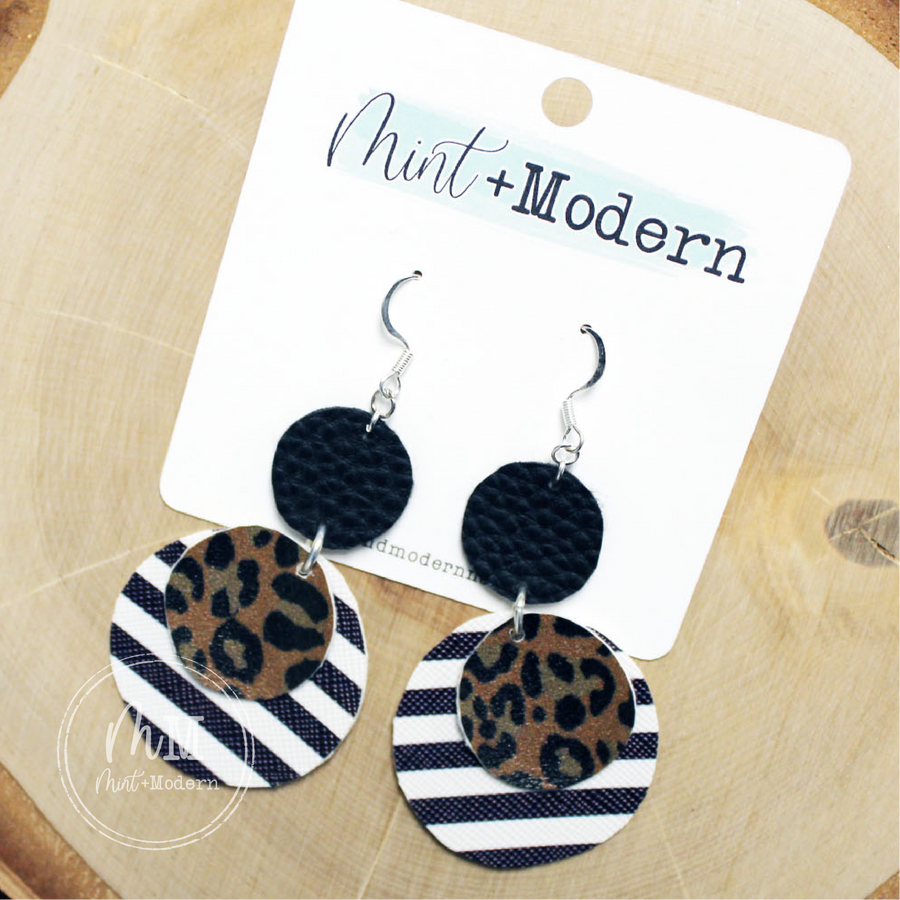 Black Stripe and Leopard Vegan Leather Handmade Earrings