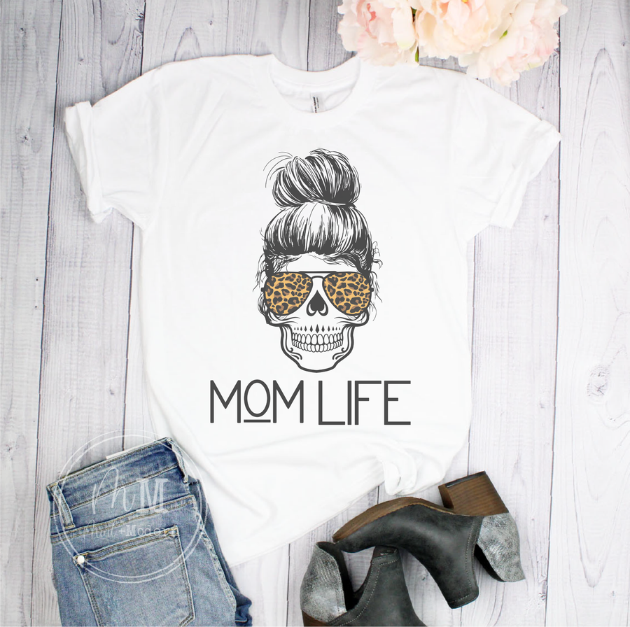 Mom Life Messy Bun Short Sleeve Shirt