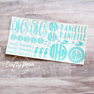 Mermaid Monogram Decal Sheet in Glitter 12x6