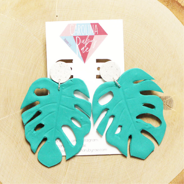 Teal Monstera Leaf Dangles Handmade Clay Earrings
