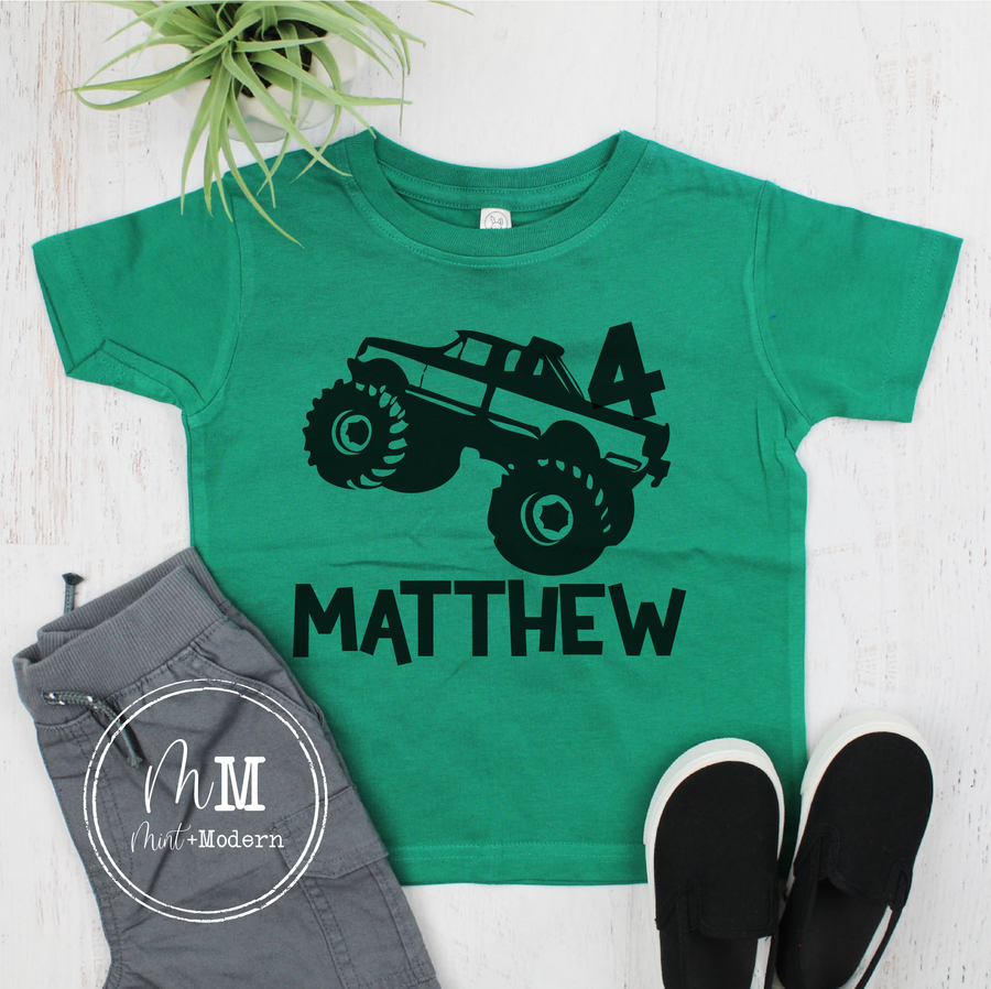 Monogram Monster Truck Birthday Shirt