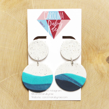 Navy & Teal Circle Dangles Handmade Clay Earrings