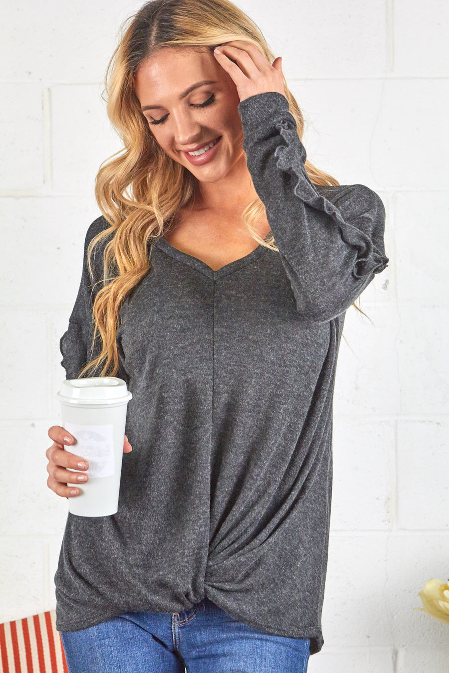 Grey Front Twisted Top with Ruffle Long Sleeves