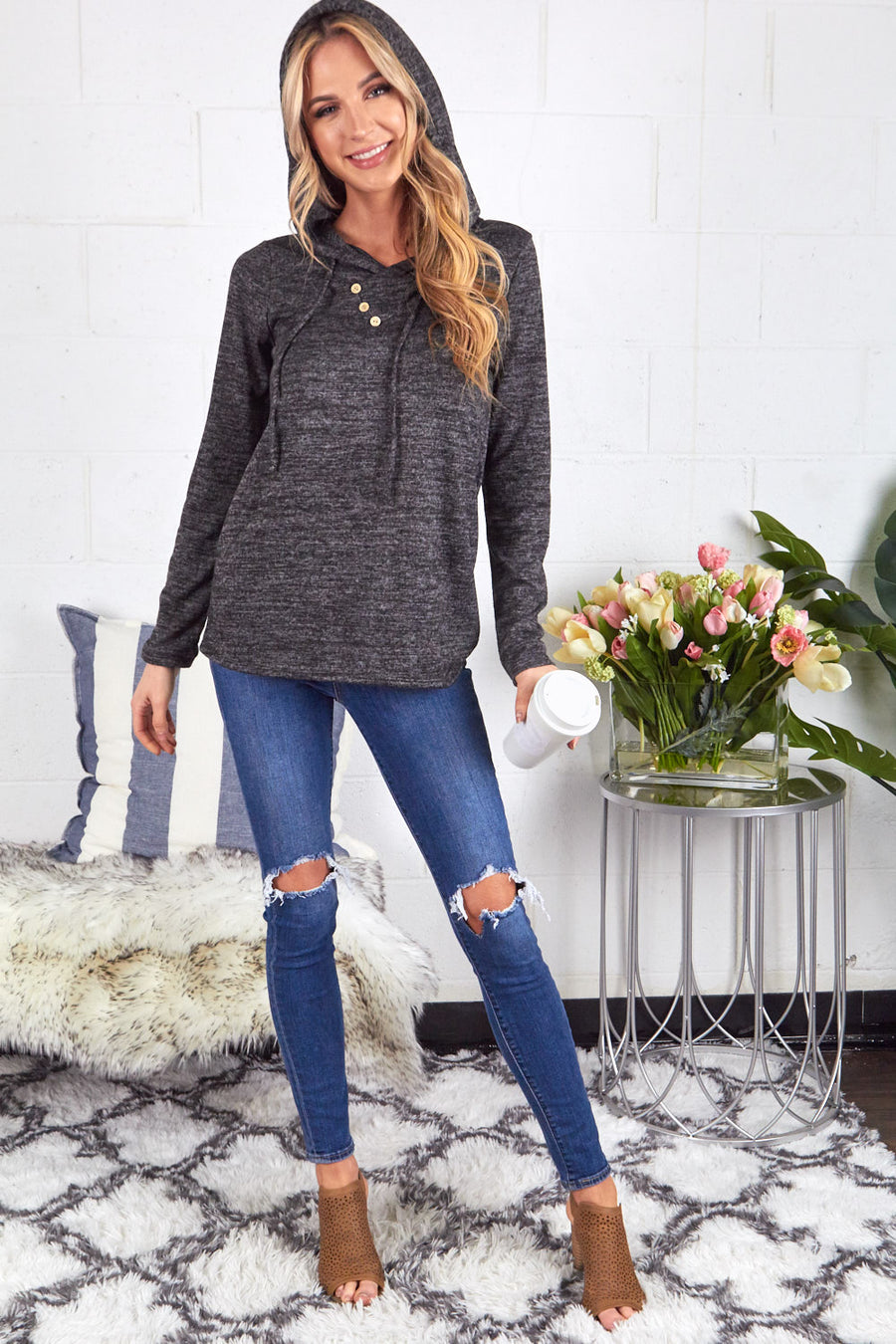 Black Melange Sweater Fabric Hoodie with Button Neck