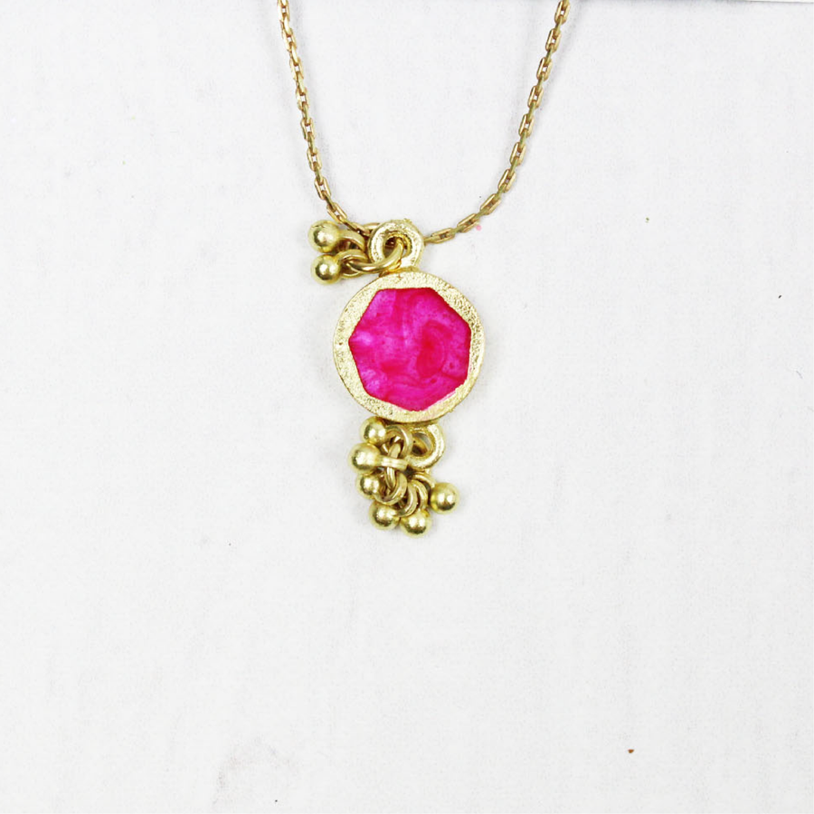 Hot Pink Sun Stone with Gold Dangles Necklace 16