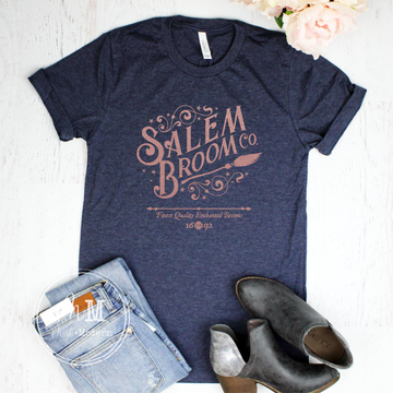 Navy & Rose Gold Salem Broom Company Graphic Tee LIMITED EDITION