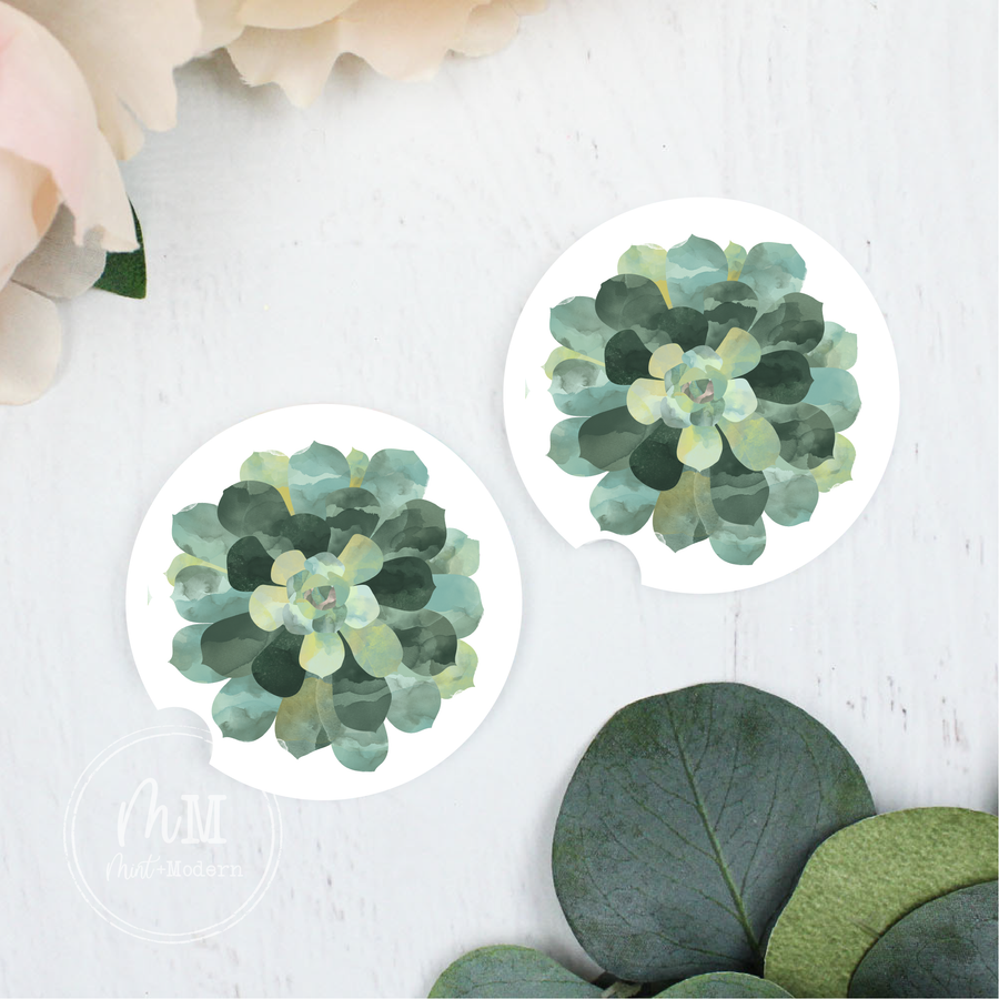 Succulent Ceramic Car Coaster Set 2.5
