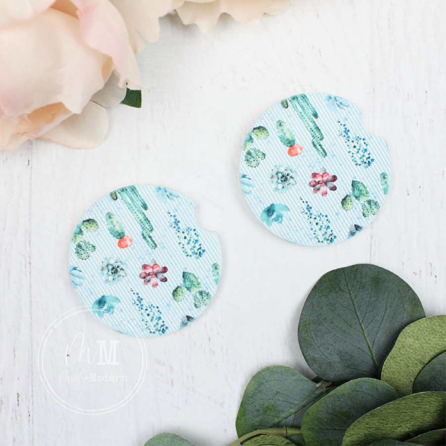 Cactus Ceramic Car Coaster Set 2.5