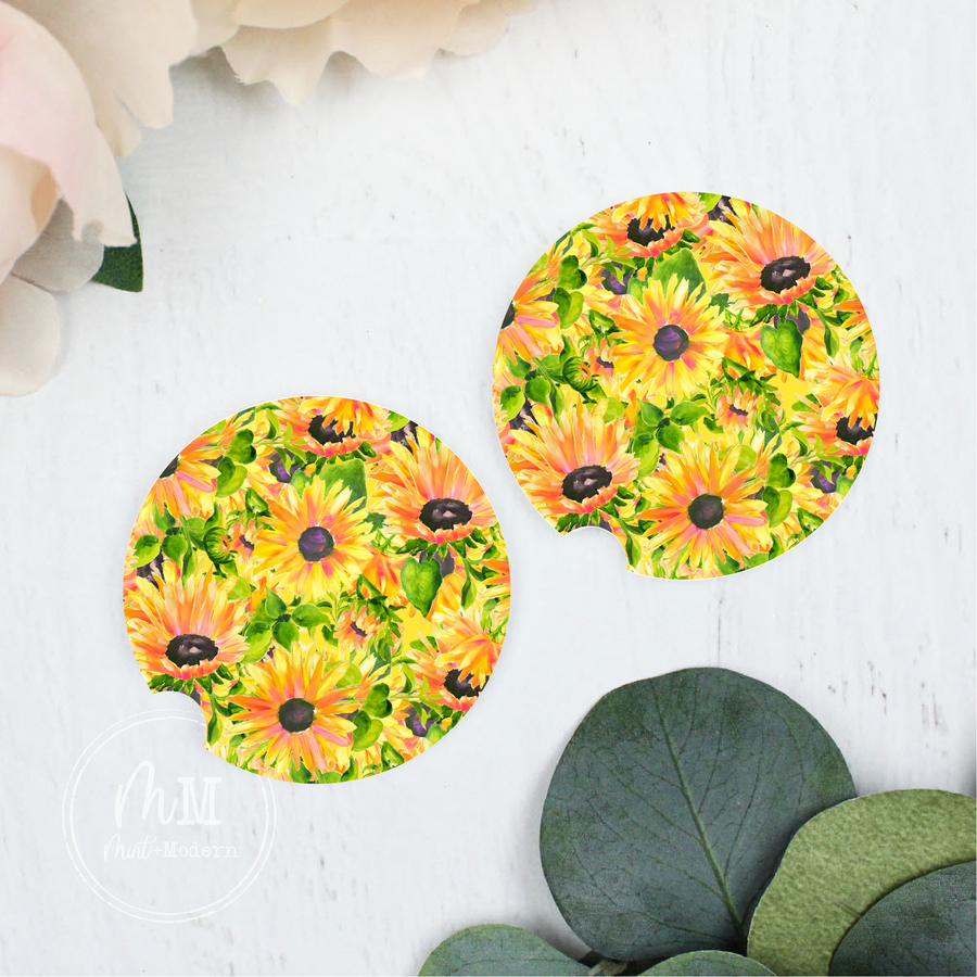 Boho Sunflower Sandstone Car Coasters