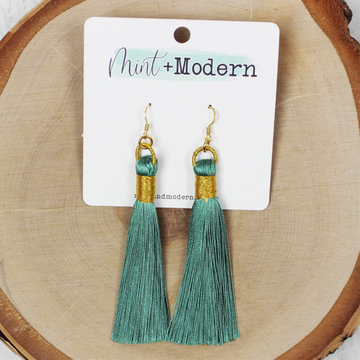 Seafoam Green & Gold Tassel Earrings