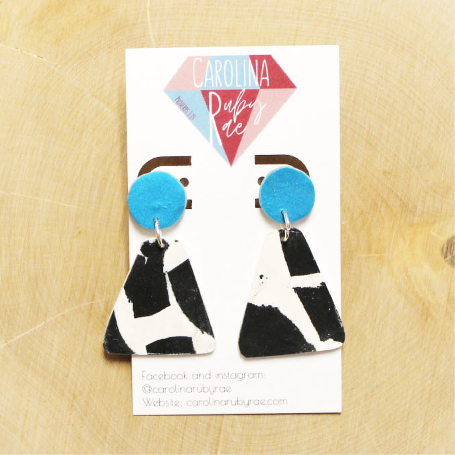 Aqua Cow Bell Handmade Clay Earrings