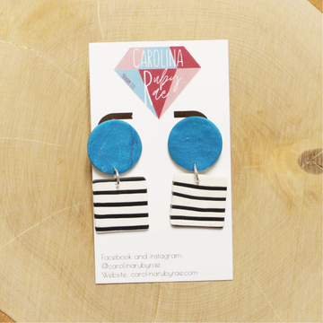 Aqua & Stripe Dangles Handmade Clay Earrings