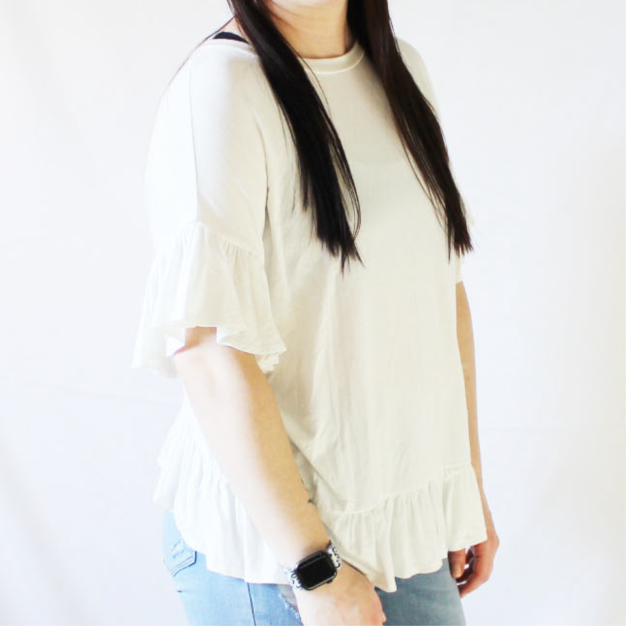 White Ruffle Back and Sleeve Top with Ruffle Hem