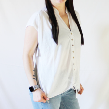White Button Front Tie Short Sleeve Top
