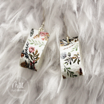 Wildflower Vegan Leather Handmade Earrings