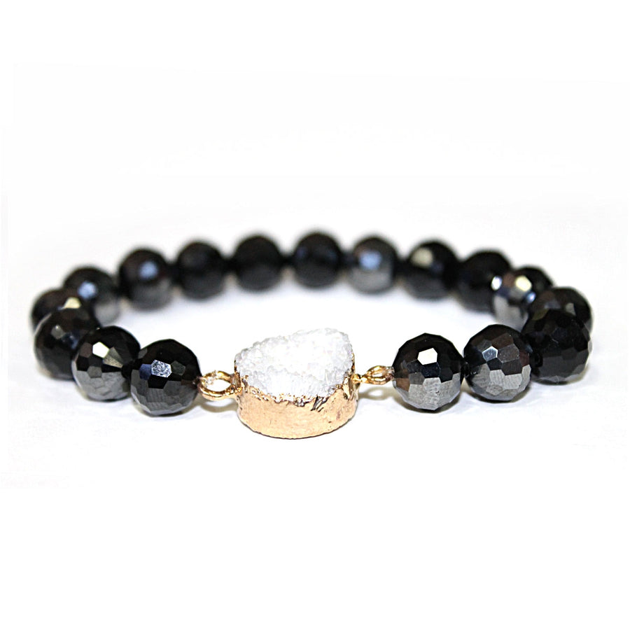 Black Crystal Stretch Bracelet with Druzy Accent