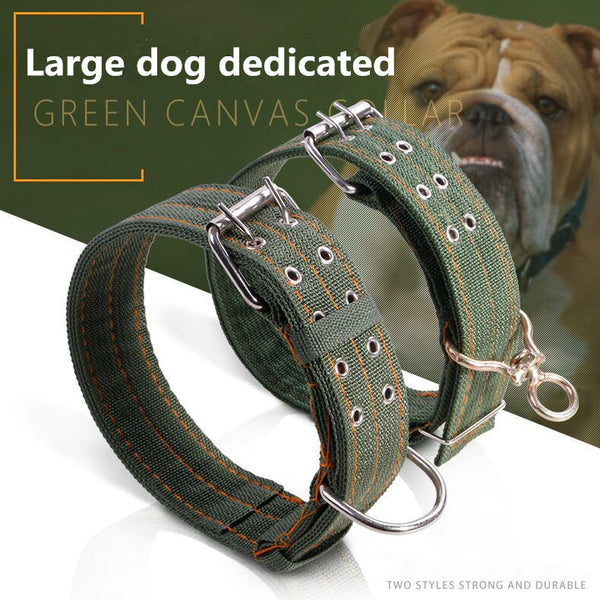 Free Army Green Canvas Adjustable Collar for Large Dogs