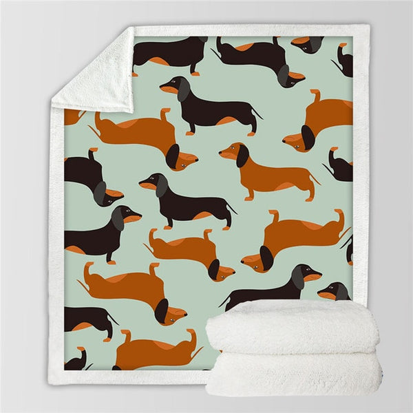Dachshund Sherpa Fleece Blanket