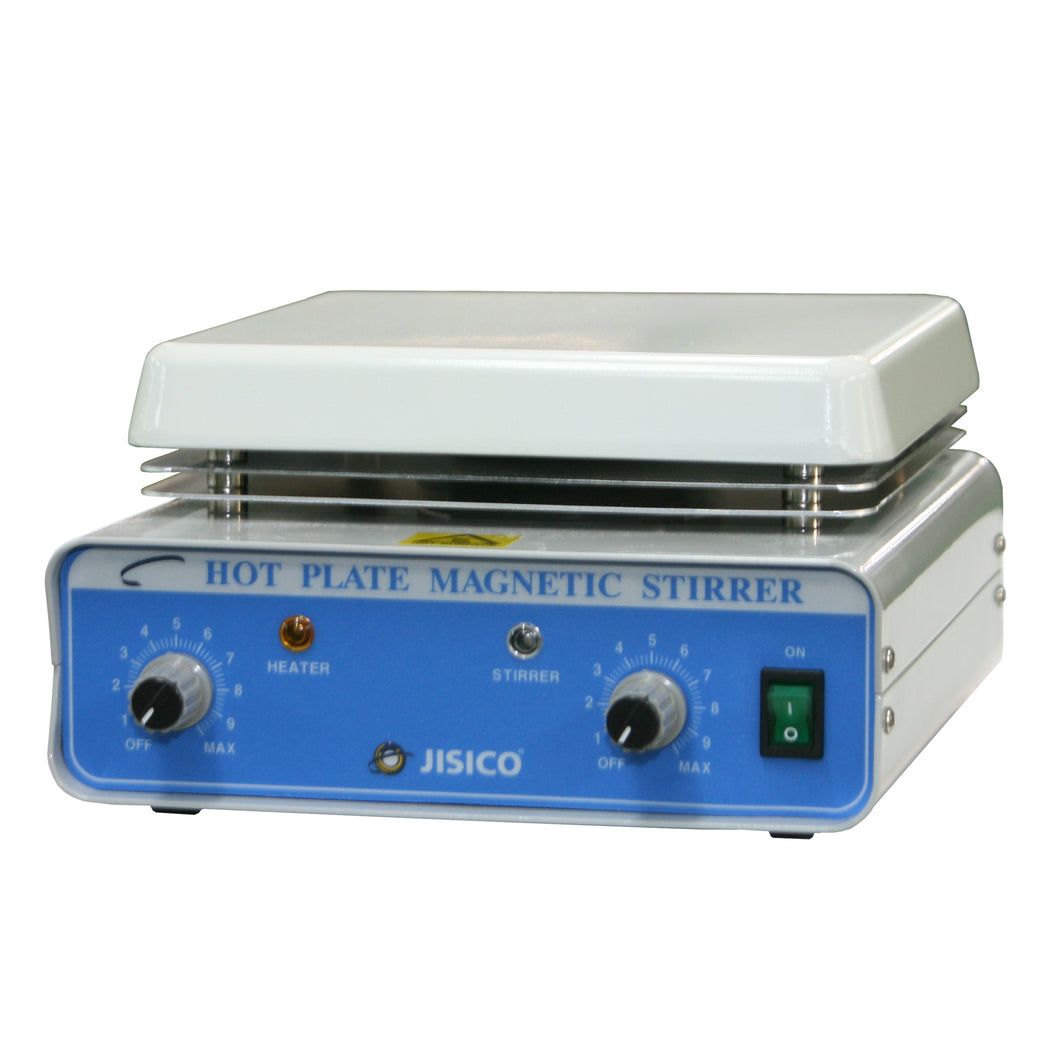 JISICO Hot-Plate Magnetic Stirrer. Plate size (W×D) 180×180 mm (ceramic coated) Overall size (W×D×H) 200×310×115mm. Net weight 3.5Kg.Volt: 110 Volt - 60Hz - BiochromCorp